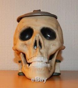 Ernst Bohne Söhne antique Character German Beer Stein fraternity Skull Bones