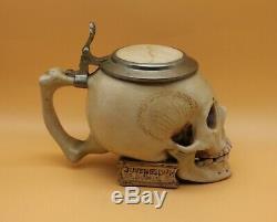 Ernst Bohne Söhne antique Character German Beer Stein fraternity Skull & Bones