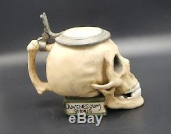 Ernst Bohne Söhne antique skull Character German Beer Stein Lidded Mug student