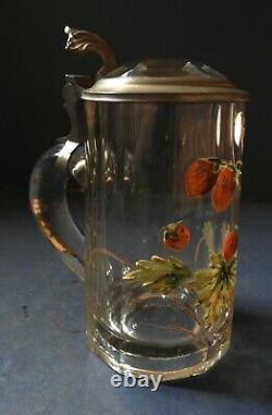 Excellent German Glass Beer Stein With Enamelled Strawberries 19th Century