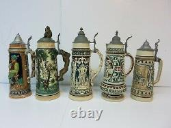 Five Pottery German Beer Stein Monkeys Pub Tavern Scene 12¾ 151/4 Mettlach Era