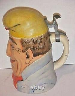 GERMAN COURT JESTER CHARACTER BEER STEIN HAND PAINTED ca 1930'S