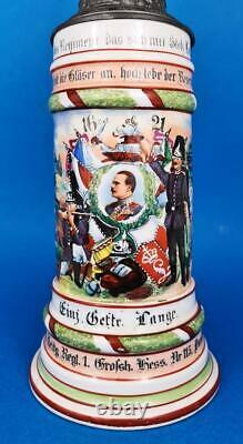 GERMAN MILITARY REGIMENTAL BEER STEIN c1908-09 HESSEN DARMSTADT REGT