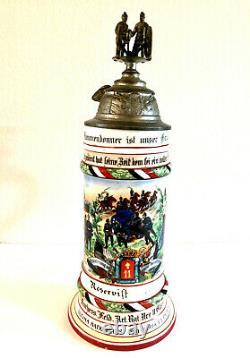 German Artillery Regimental Military Beer Stein 1905 07 Lithopane AUTHENTIC