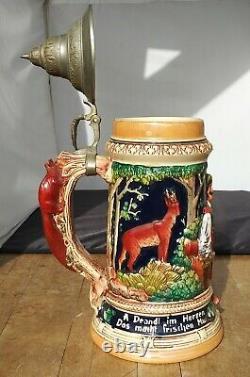 German Beer Lidded Stein 13