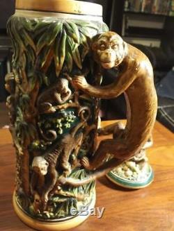 German Beer Mug Stein Monkey Village THE MOST RARE Hard to find ONE! 1800's Era