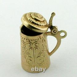 German Beer Stein 14K Gold Tankard 3D Vintage Charm