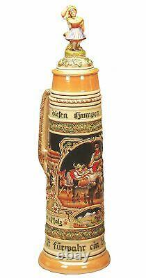 German Beer Stein Alpine Giant Bumper based on paintings of F. KI 300-F 12L NEW