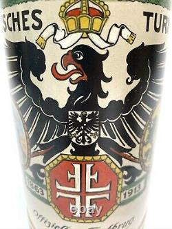German Beer Stein Group with 4F Gymnast Turnfest Theme Mettlach 1914 & 1L Gift