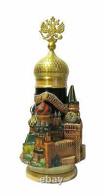 German Beer Stein Moscow 3-D Stein, Goldeaglelid 0.75 lit. KI T2000BG 0,75L NEW