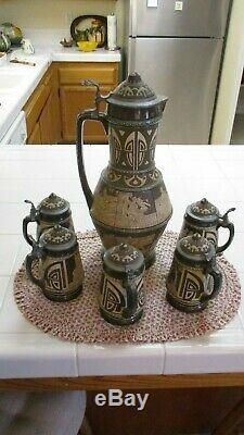 German Beer Stein Pitcher And Cups Set Antique Very Rare