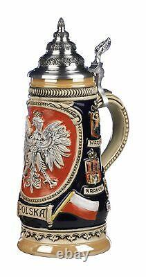 German Beer Stein Polska 0.5 liter tankard, beer mug KI 307-P 0,5L Polska NEW