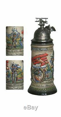 German Beer Stein Red Baron Stein relief bumper 0.5 liter tan. ZO 1942/9015 NEW