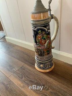 German Beer Stein Vintage Set Of 3 Very Large And Beautiful Set 20 18 15