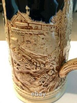 German Beer Stein With Pewter LID 9 Vintage Cobalt Blue Marked Germany
