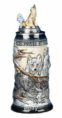 German Beer Stein the power of the Wolf Pack Relief Stein. KI 955-RUW 0,5L NEW