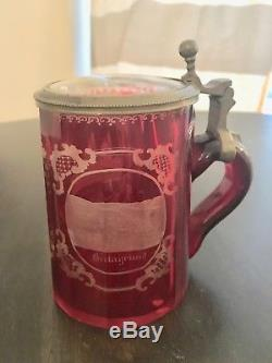 German Beer Stein with Lid, Raspberry glass with etched design