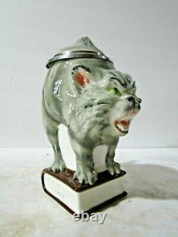 German Cat on Book Figural Beer Stein