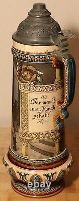 German Drinkers by Mettlach 2.1 Liter German beer stein antique # 2176 / 1055