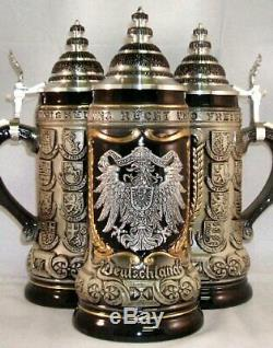 German Eagle Pewter Relief with State Crests German Beer Stein. 75L ONE Mug New