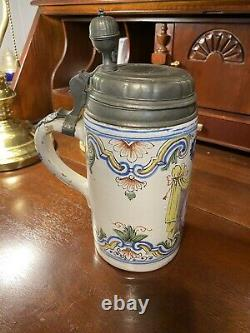 German Faience Beer Stein Circa 1760 (Erfurt)