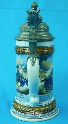 German Germany WW1 WWI Lid Lidded Beer Stein Pokal Military Army Motif Mug Cup