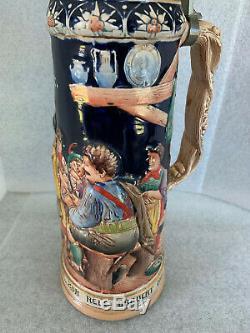 German Lidded Beer Stein LARGE Vintage hand painted. 2 Liters. 1255