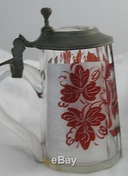 German Lidded Beer Stein Leaded Cut Etched Colored Glass Porcelain Top 1900's