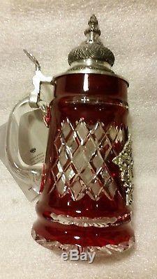 German Lidded Beer Stein Red Lord of Crystal. 5 L 9 7/8 Tall Le King-Werk