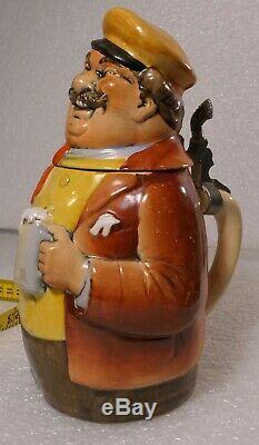 German Lidded Beer Stein Tankard Character Stein Man Drinking Beer