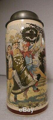 German Lidded Beer Stein Tankard Villeroy & Boch Festival Scene