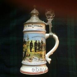 German Military Lithopane Beer Stein