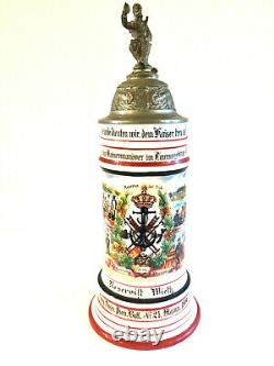 German Naval Regimental Military Beer Stein 1904-06 Lithopane AUTHENTIC