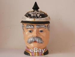 German Porcelain Character Beer Stein Otto v. Bismark Head by Schierholz c. 1980s