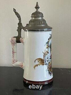 German Porcelain Lithophane Hand Painted Victorian Woman Portrait Beer Stein