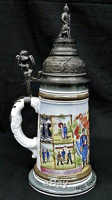 German Regimental Beer Stein Soldier/Lion Finial Lithophane Colonial Guard 02692
