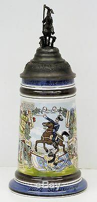 German Regimental Beer Stein withLithophane Horse Regiment Cavalry Finial (03153)