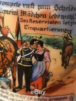 German Regimental Beer Stein withLithophane Horse Regiment Cavalry Finial