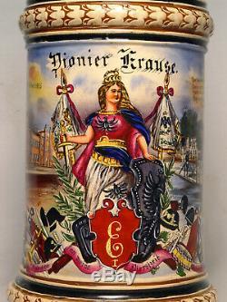 German Regimental Eisenbahn Beer Stein Old Antique Vintage Pre-WWI Train Pionier