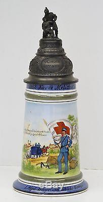 German Regimental Lidded Beer Stein withLithophane Field Ambulance Hospital 03156