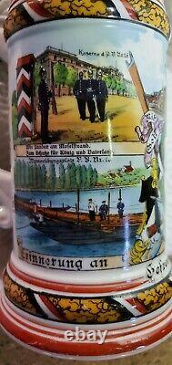 German Regimental Military Beer Stein 1905-07 Lithopane AUTHENTIC Hand-painted