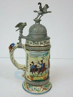 German Regimental Military Beer Stein 5 Dragoon Hofgeismar 1905-1908 Res. Rauch