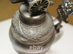 German Regimental Military Lithophane Beer Stein 1906-09 Cannon Lid Exc Cond