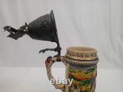 German Regimental Porcelain Beer Stein with Pewter Lid