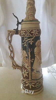 German Stein, Tall Lidded, collectible stein, Beer stein, Mint condition, German