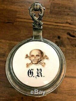 German Totenkopf Skull & Crossbones Stunning Beer Stein Tankard 1/2 Ltr Antique