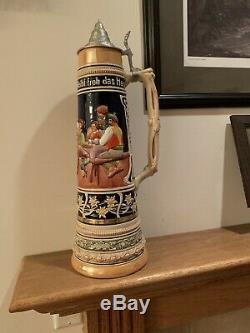 Gerz Large German Beer Stein 4l Liter 21.5 Tall Great Condition