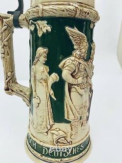 Girmscheid 157 1 Liter Antique German Beer Stein Figural Lid 15.5 Early Germans