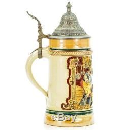 Girmscheid 644 Antique Etched Lidded Mug German Beer Stein Tavern Scene 1900's