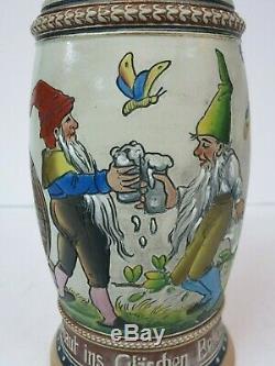 Girmscheid German Beer Stein Gnome Butterfly Dwarf (Mettlach Era) 100 yr